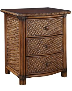 Furnitures : Cinnamon Wicker Marco Island Nightstand Have Three Large Storage Drawers With Easy Glide Side Mounted Metal Guides Best Choices for the Design of Wicker Nightstand Nightstand With Wicker Baskets. White. Vintage.