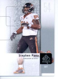 2011 SP Authentic Football Cards #83 Stephen Paea RC - Oregon State Beavers (RC - Rookie Card) Chicago Bears (NFL Trading Card) by Upper Deck. $2.52. 2011 SP Authentic Football Cards #83 Stephen Paea RC - Oregon State Beavers (RC - Rookie Card) Chicago Bears (NFL Trading Card)