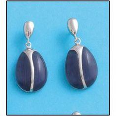 Pendientes en Plata de Ley de 925mm con piedra Ojo de Gato en color azul. Cierre de presión. Medidas del pendiente: 14x29mm.