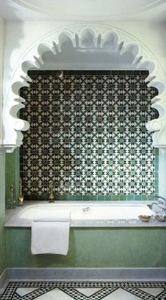 Moroccan bathroom - mediterranean - bathroom tile - new york - morrocan kitchen Bad Inspiration, Bathroom Inspiration, Bathroom Ideas, Bath Ideas, Moroccan Tile Bathroom, Kitchen Island Lighting Modern, Mediterranean Bathroom, Shower Backsplash, Moroccan Interiors