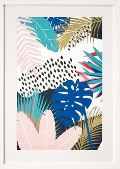 Tropical Leaves, Framed Print from Made.com. Multi-Coloured. Express delivery. Bright and beautiful, this tropical print artwork adds some summery c..
