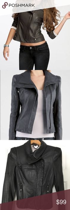 Guess structure shoulder gray leather jacket Guess grey structures shoulder gray leather jacket. 100% leather. Leather is super soft like lamb skin leather. Gently warn in great condition. The inside lining has tear please see pics for details. Size xs fits true to size. Great wardrobe must have. Guess Jackets & Coats