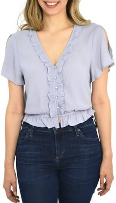 Cathrine Kate Mini Ruffle Button Down Blouse in Dusty Blue (Medium, Dusty Blue) casual Kurti Neck Designs, Blouse Designs, Sleeves Designs For Dresses, Shirt Blouses, Shirts, Blouse Styles, Printed Skirts, Blue Tops, Blouses For Women