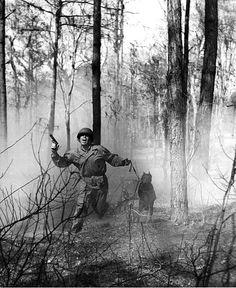 A USMC training a war dog at Camp Lejeune, c. 1943.