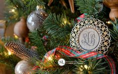 Monogram Christmas Ornaments. Mini Frames from Michaels. Could put anything in the center.