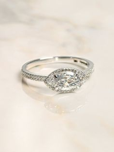 The Elodie Ring Setting (Marquise Cut) – Après Jewelry Classic Engagement Rings, Halo Engagement Rings, Diamond Wedding Rings, Wedding Ring Bands, Gold Wedding, Diamond Rings, Rustic Wedding, Wedding Ideas, Wedding Rings For Women