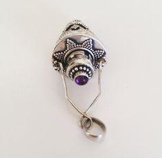 Amethyst Sterling Silver Prayer Pendant Perfume by bySAQUI