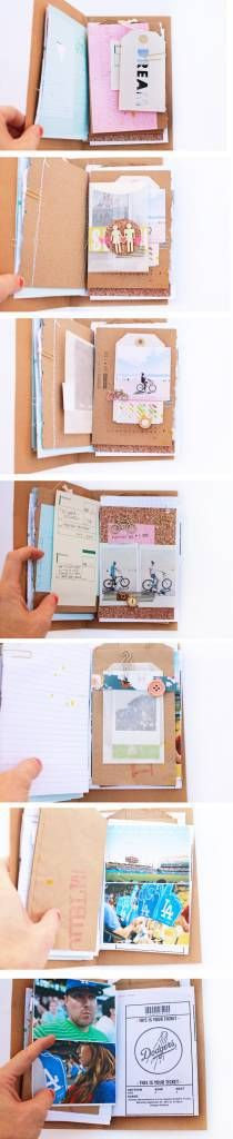 I am loving this very loose and organic mini travel album by Elizabeth Kartchner of Dear Lizzy. Instead of binding the pages she left them loose, and wrapped them in an envelope binder. She also di…