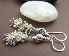 Fransesca Gemstone Earrings - Amethyst Peridot Wire Wrapped Cluster Earrings Sterling via Etsy