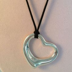 """Tiffany & Co Peretti Large HUGE Open Heart Necklace 925 Sterling 18"""" Chain - http://elegant.designerjewelrygalleria.com/tiffany/tiffany-co-peretti-large-huge-open-heart-necklace-925-sterling-18-chain/"""