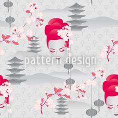 Hanami Cherry Blossoms At Dawn Design Pattern Japan Illustration, Geisha, Vector Pattern, Pattern Design, Vektor Muster, Japanese Pagoda, Floral Artwork, Ornaments Design, Repeating Patterns