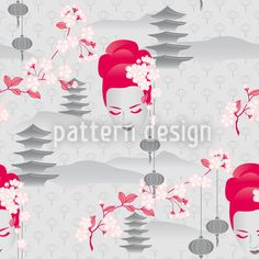 Cherryblossom Geisha by Martina Stadler available as a vector file on patterndesigns.com