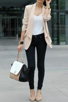 work fashion cute beige blazer and skinny trousers set