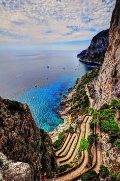 Capri, Campania, Italy. The famous winding road every spy drives down in the movies