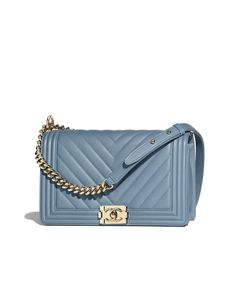 219325ee4ea4 Large BOY CHANEL Handbag, grained calfskin & gold-tone metal, blue - CHANEL