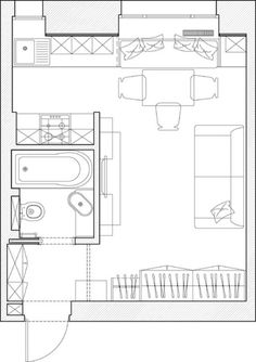 O garsoniera de 23 mp surprinde prin decorul original Shed To Tiny House, Small House Plans, House Floor Plans, Lofts, Small Space Design, Small Space Living, Tiny Apartments, Apartment Plans, House Drawing