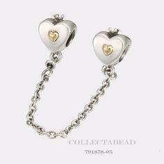 Authentic Pandora Silver & 14K Gold Heart & Crown Safety Chain 791878-05 #Pandora