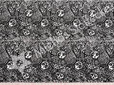 Michas Stoffecke - Bio-Stretchjersey Tangle Skulls schwarz S-SO-D80118