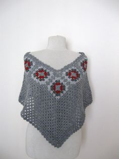 Crochet grey poncho with granny square motifs gift guide fall winter fashion