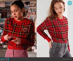 Nini's red plaid sweater and pink button front skirt on High School Musical The Musical The Series - Basic Outfits, Other Outfits, Cute Casual Outfits, Stylish Outfits, Fashion Tv, Fasion, Fashion Ideas, Button Front Skirt, High School Musical