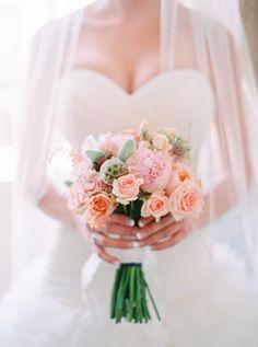 Peachy pink: http://www.stylemepretty.com/2015/10/09/romantic-intimate-parisian-wedding/ | Photography: Le Secret D'Audrey - http://www.lesecretdaudrey.com/