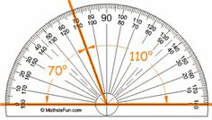 protractor 2 angles 70 and 110