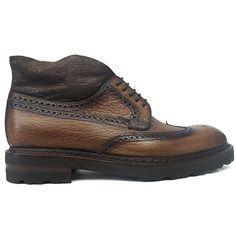 8536 Zapato botín con pala vega y picado maría en piel grabada de color cuero difuminado y tintado a mano de Zampiere | Calzados Garrido