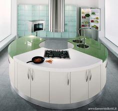 Geosfera round kitchen with curved peninsula - DIOTTI A&F Italian Furniture and Interior Design