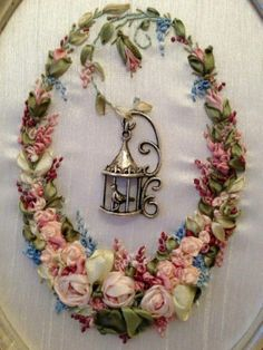 """I ❤ ribbonwork . All works are made of artificial silk ribbons mark """"Majestic."""" ~From Studio Lonavi Silk Ribbon Embroidery, Beaded Embroidery, Cross Stitch Embroidery, Embroidery Patterns, Hand Embroidery, Ribbon Art, Ribbon Crafts, Ribbon Flower, Band Kunst"""