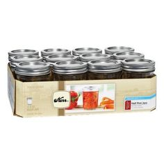 Kerr Regular Mouth Ball Mason Jars with Lids and Bands Ideal for Preserving Food, 12pk
