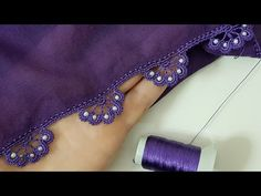 Saree Kuchu New Designs, Saree Tassels Designs, Crochet Edging Patterns, Stitch Patterns, Embroidery Stitches Tutorial, Embroidery Designs, Pearl Embroidery, Crochet Videos, Cotton Crochet