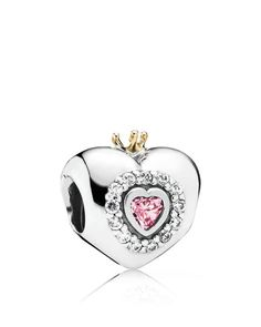 Pandora Charm - Sterling Silver, Cubic Zirconia & 14k Gold Princess Heart, Moments Collection