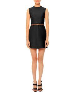 Sleeveless Jewel-Neck Belted Dress, Black by Valentino at Bergdorf Goodman. $2990