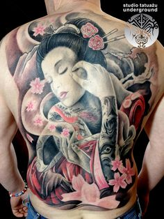 peaceful geisha with coloured flowers