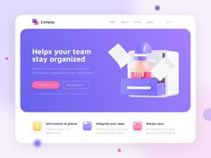 Collaby - Project Management Tool Website Exploration by Sigit Setyo Nugroho for OWW on Dribbble Landing Page Inspiration, Ui Design Inspiration, Dashboard Interface, Interface Design, Ui Ux, Web Design, Page Design, Insurance Website, Tool Website