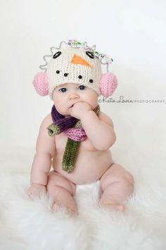 Snowman Hat with Ear Muffs - Christmas - Holiday - Winter - Newborn Photo Prop on Etsy, $37.00