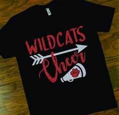 6266e827e00a School Spirit Wildcats Cheer Tee, Wildcats Cheerleader Tee, Custom School Cheer  T-shirt