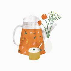 Teapot illustration from the archive, made for a client. #illustration #cosyhome #magazineillustration #drinkingtea #tea #interior #lottedirks