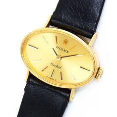 時計 【ROLEX】アンティークロレックスオーキッドK18金無垢×革婦人 Watch rolex ¥189000円 〆03月27日