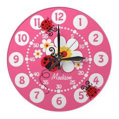 Kids ladybug & flowers cute pink girls wall clock