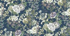 Raipur Floral (SZ001847) - Albany Wallpapers - An all over wallpaper design featuring an elegant, trailing floral. Shown here in the marine blue colourway. Other colourways are available. Please request a sample for a true colour match. Paste-the-wall product.