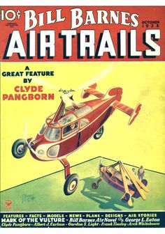 "Frank Tinsley's beautiful cover for the October 1935 issue of ""Bill Barnes Air Trails"" showing a pair of stylized Pitcairn AC-35s."