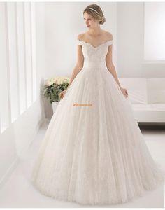 Carmen-Ausschnitt Spitze Reißverschluss Brautkleider 2015