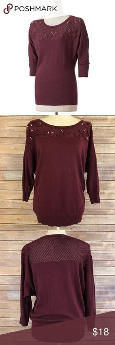 """LC Lauren Conrad Embellished Dolman Sweater M A1 Bust: 24"""" Length: 27""""  Condition: No Rips; No Stains  60% Cotton 40% Rayon   📦Orders are shipped within 24hrs! {Except weekends}📦  🚫No Trades🚫No Holds🚫 LC Lauren Conrad Sweaters Crew & Scoop Necks"""