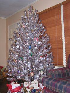 This Ever-gleam Aluminum Christmas Tree is a perfect example of a silver vintage Tree.  Look at the amount of branches you have to display your awesome ornaments.