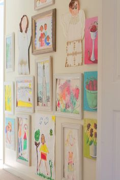 playroom/gallery wall of kids artwork Childrens Art Display, Childrens Artwork, Kids Artwork, Art Wall Kids, Art For Kids, Artwork Wall, Artwork Display, Display Wall, Playroom Art