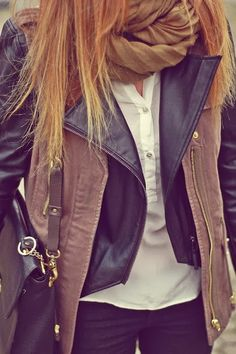 Double Tone Leather Jacket With Infinity Scarf and Leather Handbag