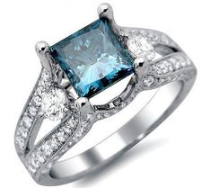 2.32ct Blue Princess Cut Diamond Engagement Ring 18k White Gold / Front Jewelers