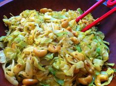 Curried cabbage with cashews - easy, healthy, delicious! Coconut oil instead of butter:)