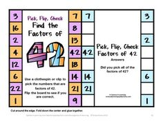 Kids love these cards - Factors Pick, Flip and Check cards by Games 4 Learning - Just use a clothespin to pick the factors then flip and check! $